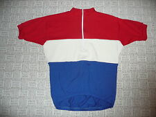 WOOL VINTAGE CLASSIC RETRO BIKE JERSEY XL red white blue merino SHORT SLEEVE