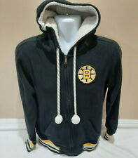 Boston Bruins NHL CCM Womens Stitched Fleece Hoodie Sweatshirt Black Large EUC