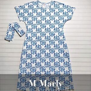 NWT Lularoe M Marly Dress Stretchy Blue White Medium