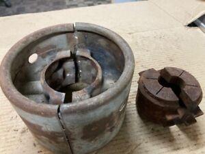 "ANTIQUE 2 PIECE FLAT BELT PULLEY LINE SHAFT HIT MISS ENGINE 6X4 1/2"" vintage"