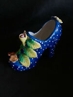 Vintage Ceramic Shoe Blue w/ White Polka-Dots and Flowers Heel