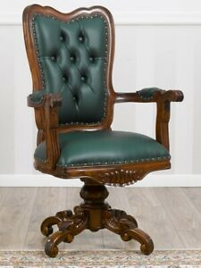 Executive office swivel chair Kimberly English style walnut faux leather green