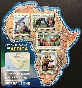 SIERRA LEONE WILD ANIMALS MAP SHAPED STAMPS '16 MNH NAT PARKS AFRICA CHIMP BIRD
