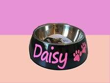 Personalised dog cat bowl pet dish black feeder great gift small size any name