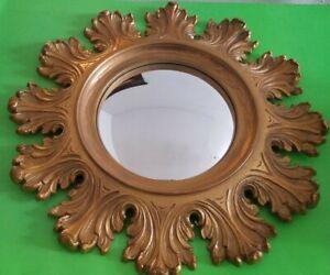 "Vintage Syroco 1963 Round Ornate Scalloped 20"" Convex Gold Wall Mirror #4713 USA"