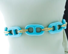 14K Yellow Gold Natural Exquisite Reconstructed Turquoise Diamond Chain Bracelet