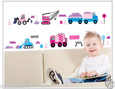 Truck Car Bulldozer Blue Pink Vehicle Removable Wall Sticker Boy Kids Nursery