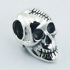 Silver bead unique Skull 14mm depth 925 sterling silver for charm bracelet new