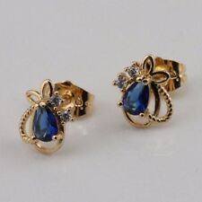 Great New Yellow Gold Filled Pear Shape Blue Sapphire & Accents Cz Stud Earrings