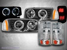 00-06 YUKON DENALI/YUKON XL HALO PROJECTOR HEADLIGHTS BLK/CHROME LED TAIL LIGHTS