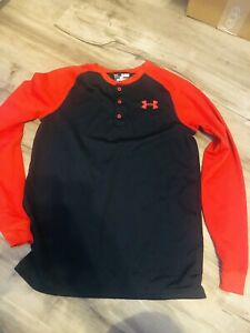 Under Armour Blk/Red ColdGear Boys Loose Waffle Henley Shirt Sz YXL Youth XL