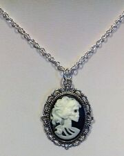 LADY Gotico Scheletro Teschio Black & White Cameo Collana Catena argento 18""
