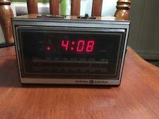 Vtg General Electric Digital Alarm Clock Am Fm Radio Wood Finish Model 7-4620F