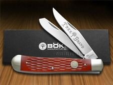 BOKER TREE BRAND Traditional Jigged Red Bone Trapper Pocket Knife Stainless