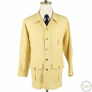 Drake's London Yellow 100% Linen Slubby Triple Pleated Patch Shacket 43EU/17US