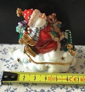 Hidden Treasures Snowman on a cloud sleigh Christmas ornament