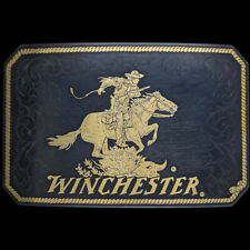 Rare Winchester Rifle Western Rider Cowboy Hunting Gift NOS Vintage Belt Buckle
