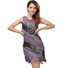 AU Fringe Tassel Beaded V Neck 1920s Great Gatsby Flapper Costumes Dress AU6-14