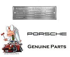 Porsche Chassis ID Plate, 911 912 914 (69-89) Genuine Porsche 91170110111