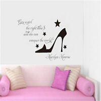 NEW High Heel Wall Sticker Marilyn Monroe Decal Quote Vinyl Mural Removable Room