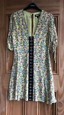 TOPSHOP Brand New Yellow Floral Pink Rose Hook Eye Summer Tea Dress Size 4-10