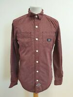 E873 MENS SUPERDRY RED WHITE PATTERNED LONG SLEEVE BUTTON SHIRT UK S EU 46