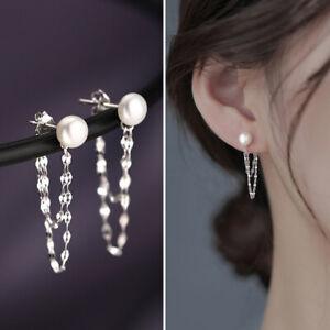 925 Silver Pearl Chain Tassel Earrings Ear Stud Drop Dangle Women Jewelry Gifts