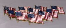 New listing Patriotic Flag Pins Set of 10 Red White Blue Stars & Stripes American Usa Pin