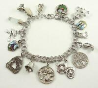 Vintage Sterling Silver Charm Bracelet with 15 Charms