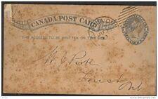 CANADA, Postcard 1882 1c  shield below 1s, card rusty (D)