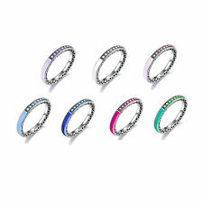New Authentic 925 Sterling Silver Enamel & Clear CZ Radiant Hearts Band Ring
