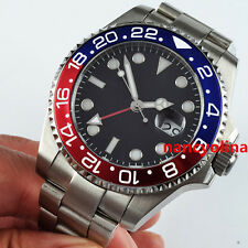 Parnis 43mm Blue Red Ceramic Bezel Sapphire Glass GMT Automatic Date Men Watch