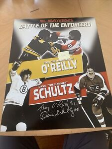 SIGNED TERRY O' REILY & DAVE SCHULTS THE ENFORCERS 16 X 20