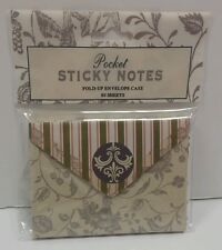 NEW Pocket Sticky Notes Fold-Up Envelopes Case 80 Sheets Green & Pink NIP