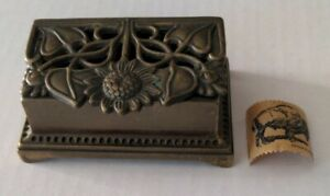 Vintage flower bronze stamp holder or jewelry/trinket box Buffalo stamp included