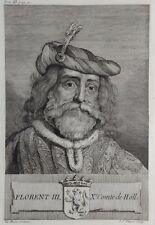 Gravure Antique print FLORENT III Comte de Hollande Flipart Count of Holland