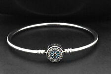925 Sterling Silver Circle Cluster Blue Sapphire Sim Diamond Bangle Bracelet