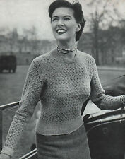 Vintage Knitting Pattern Lady's 1940s Jumper. 33 to 38 Inch Bust.