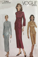 Vogue Sewing Pattern 7763  Easy, Soft Peplum Top & Skirt, Size 6-10 or 12-16 New