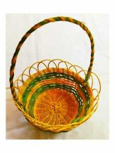 Flower & Fruit Basket with Handle Gift Colourful Dried Bamboo Wicker Basket