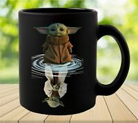 Baby Yoda Water Mirror Reflection Master Yoda Black Coffee Mug