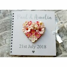 Beautiful Personalised Floral Heart Vintage Wedding Guest Book. Any Colour