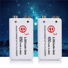 2pcs Soshine 9V 650mAh Rechargeable Li-ion Batteries for Camera Microphone White