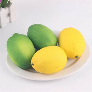 3pcs Fake Fruits Artificial Foam Lemon Home Ornament Art Decoration 10x7x7cm