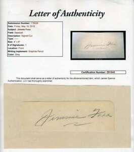 Jimmie Foxx Jsa Coa Autographed Vintage 4x8 Cut Hand Signed Authentic