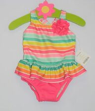 NWT Gymboree One Piece Ruffle Skirt Bright Striped Bathing Swim Suit, 6-12 mos.
