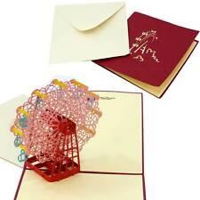 Cartolina biglietto auguri SAN VALENTINO amore RUOTA PANORAMICA kirigami pop up