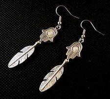 Natural Rose Quartz Gemstone Hamsa Hand Dangle Feather Bohemian Earrings # B154