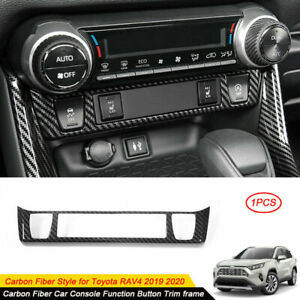 Carbon Fiber Style Car Console Function Button Trim frame For Toyota RAV4 2019 +