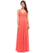 Laundry by Shelli Segal Pleated Chiffon Open Back Calypso Coral Gown size 2   a7